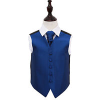 Boys Wedding Waistcoat & Cravat Set Greek Key Royal Blue Formal Suit by DQT