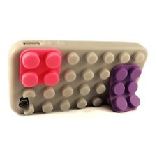 Coque Blocs Blocks Design Grise Pour iPhone 4s / 4
