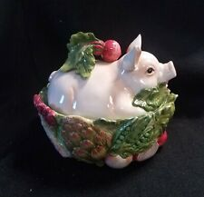 Fitz & Floyd French Market Pig Covered Dish 10 1/2""