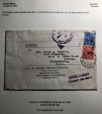 1946 London England Sample Rate Economy Label Cover To Philadelphia USA