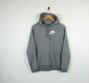 Nike Women Casual Grey Solid Chest Logo Hoodie Hooded Sweatshirt Size Medium