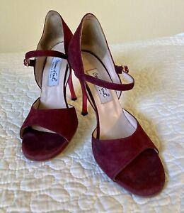 Comme il Faut Argentine Tango Dance Heels Burgundy Suede Size 7