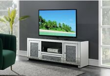 ACME Noralie TV Stand in Mirrored and Faux Diamonds