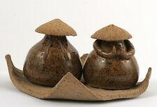 Cute Salt Pepper Shakers Set Pottery Art Japanese Chinese Asian Kitchen Cuisine