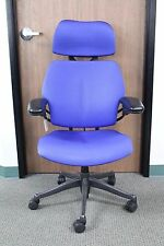 Humanscale Freedom with Headrest with a Blue Gel Seat with Graphite Base