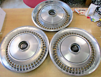 Lot of 3 genuine 1973 1974 Lincoln Continental hubcaps wheel covers