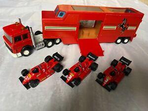 Matchbox Superking's Ferrari F1 Lorry & 3 x F1 cars - complete unboxed.