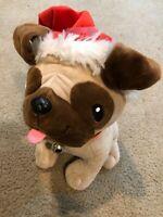 Hallmark Christmas Plush Pug Stuffed Toy Animal with Santa Hat, Puppy Pal