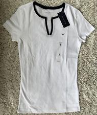 Tommy Hilfiger Womens Split Neck White Short Sleeve T Shirt Size S Cotton Tee