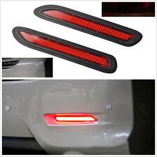 2 xUniversal voiture Red Lens DEL Pare-chocs réflecteurs Feu Arrière Frein Brouillard Clignotant