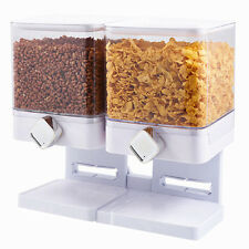 Double Cereal Dispenser Home Kitchen Dry Food Dispenser Container Machine White