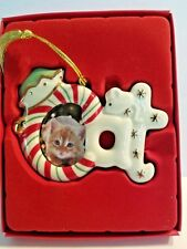 Lenox Spode Furry Christmas Cat Porcelain Frame Ornament w/ Magnet in back, New