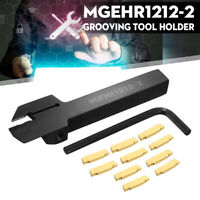 10Pcs MGMN200 Inserts + MGEHR1212-2 Lathe Cutter Grooving Tool Holder + L Wrench