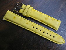 18 mm Elini Yellow Genuine Leather Ostrich Look Watch Band strap EZ Pins - SALE!