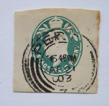 GB KEVII Half Penny vert entiers postaux. utilisé 1903.