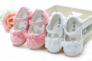 Baby Girls Christening Shoes in White Pink 3-6 6-9 9-12 12-15 15-18 Months