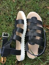 Office Sandals Flat Gladiators Shoes,Leather Ladies Size 4 Eu 37 Used Few Times