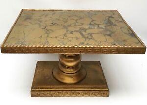 Vintage Hollywood Regency Gold Gilt Side Table Greek Key Faux Marble Glass Top