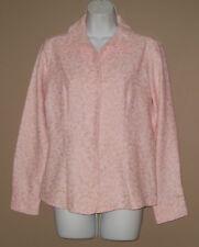 Womens Medium Long Sleeve Fall Fashion Pink Floral Mole Skin Blouse Top Shirt