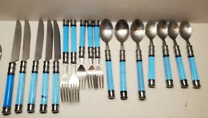 Blue Aqua Turquoise Flatware Silverware Acrylic Handles Stainless 17 Pieces