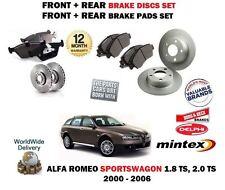 FOR ALFA ROMEO 1.8 2.0 TS ESTATE 2000-> FRONT + REAR BRAKE DISCS SET + PADS KIT