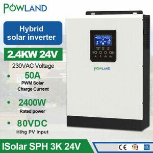 Solar Inverter 3kva Pure Sine Wave 24V 220V Hybrid Inverter Built-in 50A PWM
