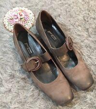 Paul Green Munchen Size 9 Mary Jane Kitten Heel Leather Buckle Gray Square Toe