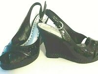 Size 7.5 Black wedge open cross over open toe sling back