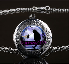 Black Cat and Fairy Glass Gun Black Chain Locket Pendant Necklace