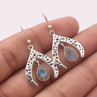 Solid 925 Sterling Silver Natural Labradorite Gemstone Jewelry Earring 1.25""