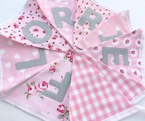 Girls Personalised Fabric Bunting Banner Birthday New Baby In Soft Pinks & Grey