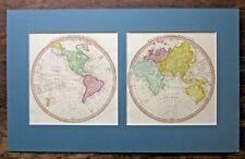 1814 World Hemispheres Nuttall Fisher Liverpool New Holland Poles Prussia RARE