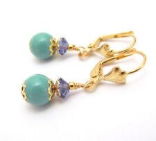 JADE GREEN PEARL Earrings using Swarovski Crystal Pearls GOLD PLATED Dainty