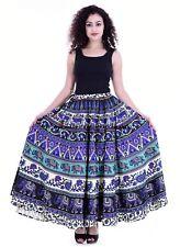 100% Cotton Indian Women Long Skirt Hippie Plus Size Elephant Print Multi Color