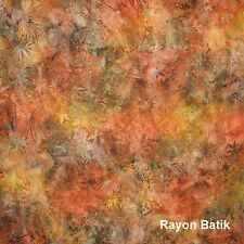Anthology Fabric - Rayon Batik Earth Green Brown Rust Leaves - YARD