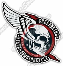 "Speed King Vintage Motorcycle Biker Skull Car Bumper Vinyl Sticker Decal 5""X4"""