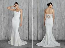 Nicole Miller Hampton Lace Back Wedding Gown Sleeveless Dress Full Length 10
