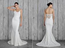 Nicole Miller Hampton Lace Back Antique White Wedding Dress Sleeveless Gown 6