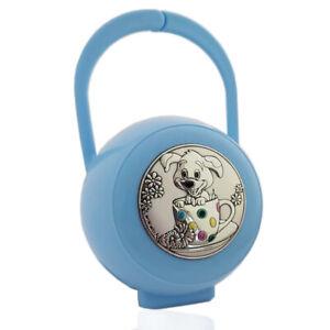 Box portaciuccio cagnolino laminato argento accessori ciuccio prima infanzia