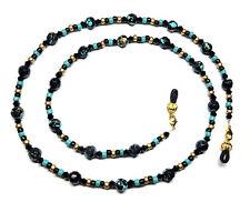Turquoise / Black / Gold Eyeglass Chain Holder