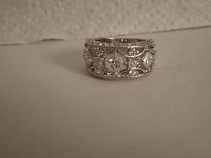 Sterling Silver CZ Wide Band Ring - size 7