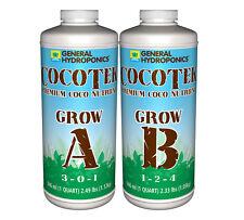 General Hydroponics Cocotek Grow Parts A & B 32oz Quart Premium Coco Nutrients