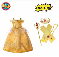 Princess Queen Belle Cosplay Costume Party Fancy Dresses Outfit 3-10Y UK