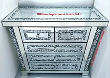 Diamond Crush Crystal Sideboard 5 Drawer Chest Sparkly Silver Mirrored Elegant