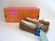 Sonoma Size 13 Brown Pink Moccasin Slippers Faux Fur Lining