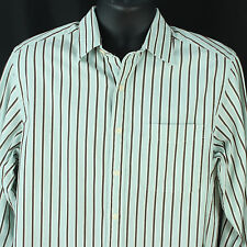 Lyle & Scott Scotland Mens M Shirt Blue Brown Stripes Business Designer Medium