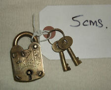 Vintage Antique Reproduction Lock/Padlock/ 2 keys Heavy metal /brass plating  .