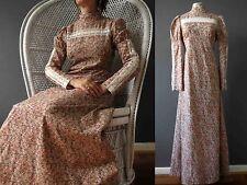 Vintage 60s 70s Autumn Floral  Cotton Boho Maxi Dress Sm 3+ items for FREE Post