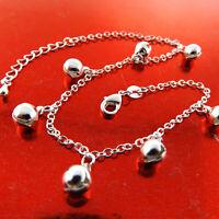 Anklet XL Bracelet Real 925 Sterling Silver SF Solid Girls Bead Bell Link Design
