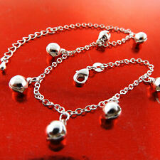 Sf Solid Girls Bead Bell Link Design Anklet Xl Bracelet Real 925 Sterling Silver
